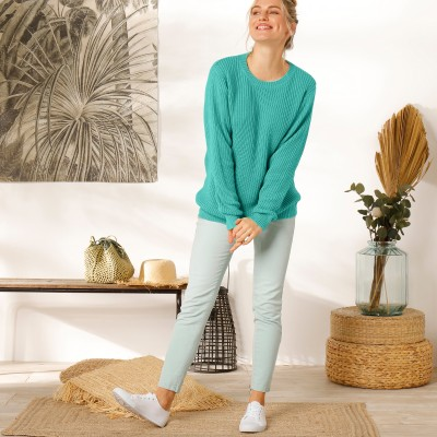 Pull col rond maille anglaise Vert: Vue 6