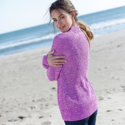 Pull col montant maille anglaise Prune chiné: Vue 6