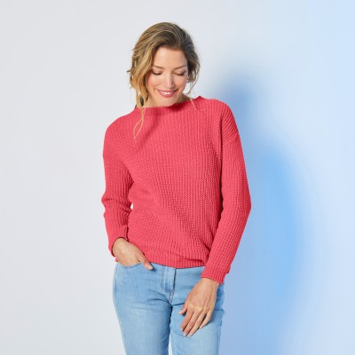 Pull col rond maille chenille Rouge grisé: Vue 6