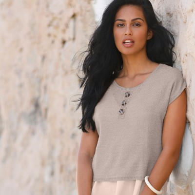 Pull court maille fine Taupe: Vue 6