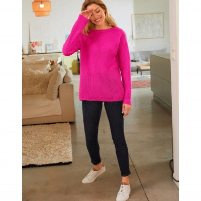 Pull col rond maille anglaise toucher mohair Rose: Vue 6