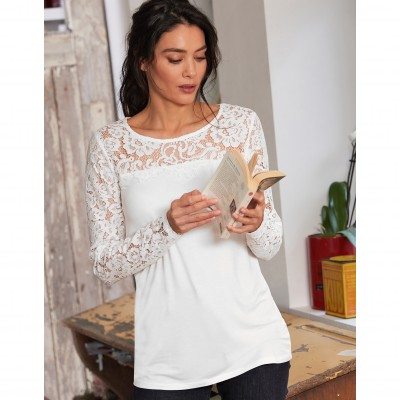 Tee-shirt col rond manches longues dentelle jersey Blanc: Vue 6