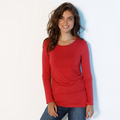 Tee-shirt col rond viscose stretch Rouge grisé: Vue 6
