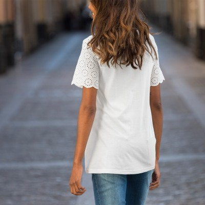 Tee-shirt broderie anglaise Blanc: Vue 6
