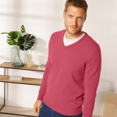 Pull col V 80% laine Pourpre: Vue 6