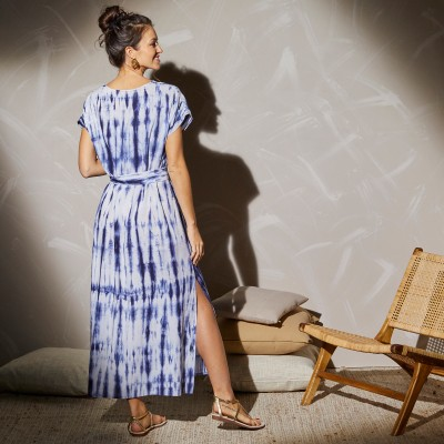 Robe longue maille tie and dye Bleu: Vue 7
