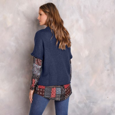 Pull poncho manches coudes Marine: Vue 7