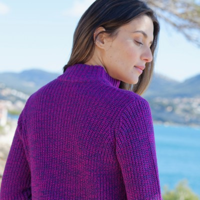 Pull col montant maille anglaise 30% laine Violine chiné: Vue 7