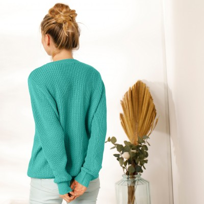Pull col rond maille anglaise Vert: Vue 7