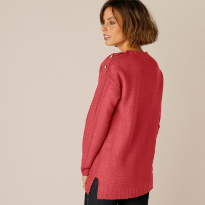 Pull femme col rond maille fantaisie Paprika: Vue 7