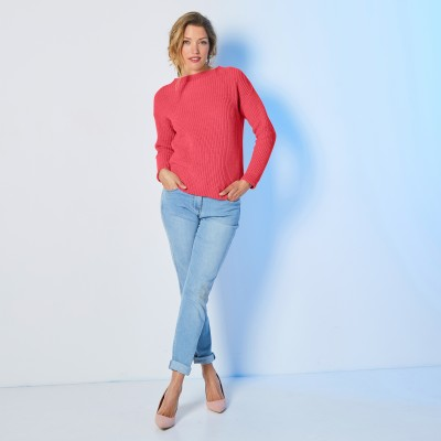 Pull col rond maille chenille Rouge grisé: Vue 7
