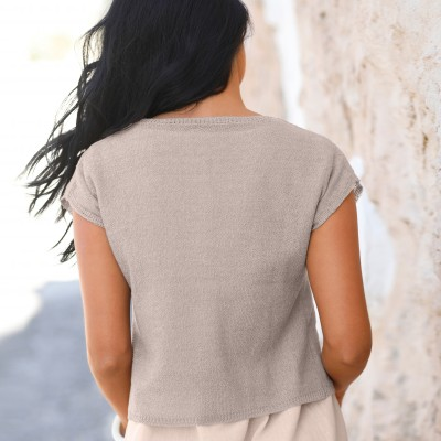 Pull court maille fine Taupe: Vue 7