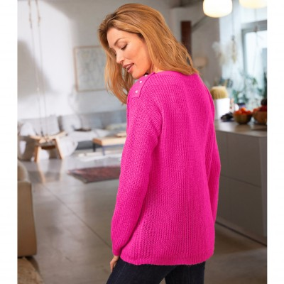 Pull col rond maille anglaise toucher mohair Rose: Vue 7
