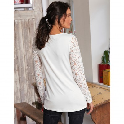 Tee-shirt col rond manches longues dentelle jersey Blanc: Vue 7