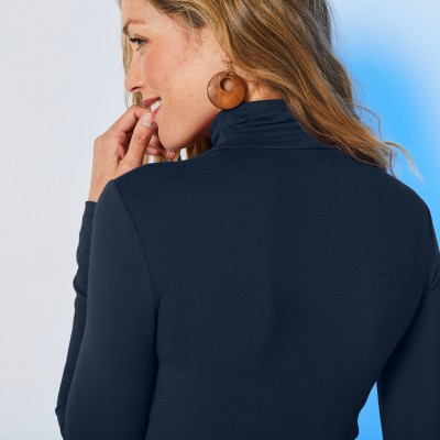 Sous-pull col montant maille stretch Marine: Vue 7