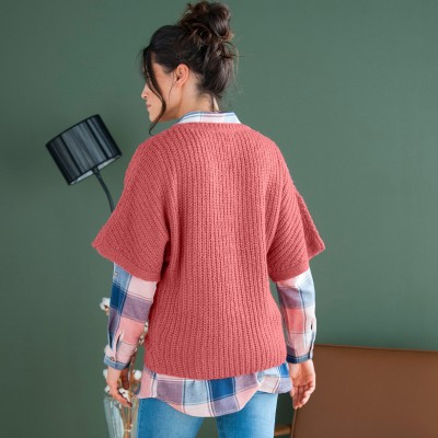 Pull poncho manches coudes Tomette: Vue 7