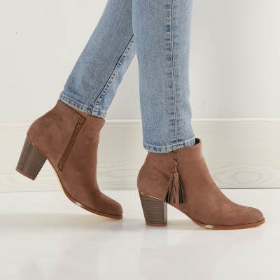 Boots finition pompons Taupe: Vue 7