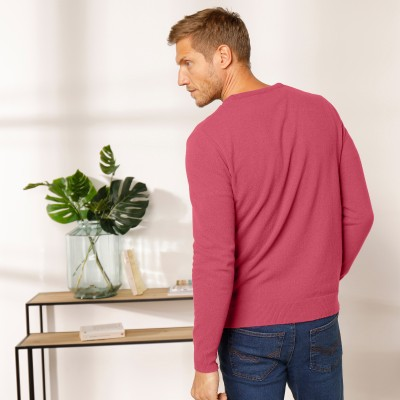 Pull col V 80% laine Pourpre: Vue 7