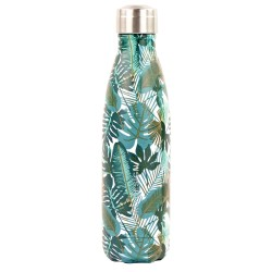 Bouteille isotherme inox 500 ml motif feuillages