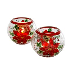 Photophore poinsettias - lot de 2
