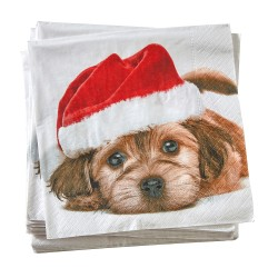 Serviettes papier motif chien - lot de 20