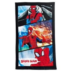 "Drap de bain velours imprimé ""Spiderman Power""®"