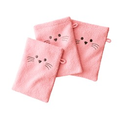 Gant de toilette brodé souris - lot de 3