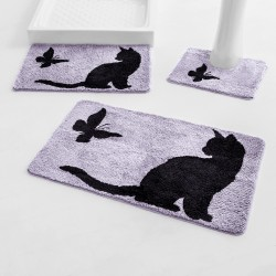 Tapis de bain fantaisie Chat & Papillon