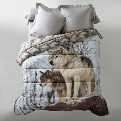 Couette microfibre impression photo loup 200g/m2