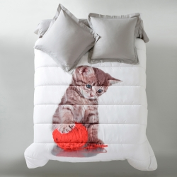 Couette microfibre impression photo chaton 200g/m2