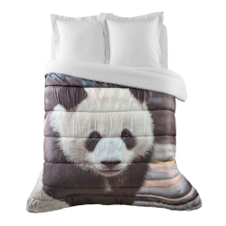 Couette microfibre impression photo panda 400g/m2