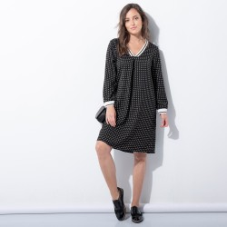 Robe pois manches longues