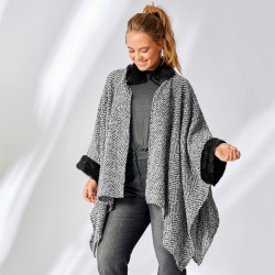 Poncho maille finition fausse fourrure