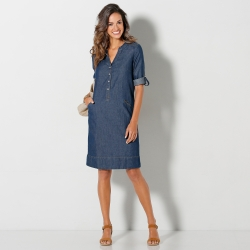 Robe denim manches retroussables