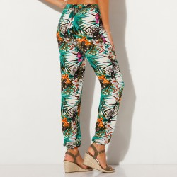 Pantalon fluide viscose - imprimé tropical