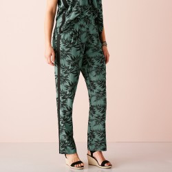 Pantalon fluide imprimé tropical