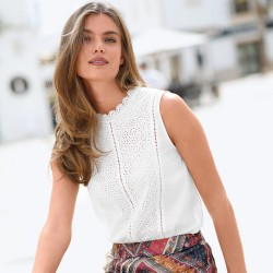 Blouse broderie anglaise sans manches