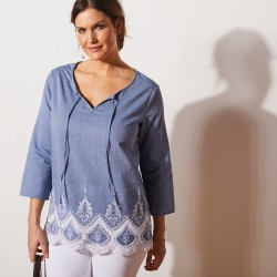 Blouse en coton chambray base macramé