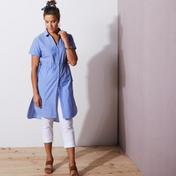 Longue chemise chambray - manches courtes