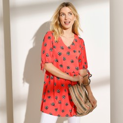 Blouse manches 3/4 tulle brodée