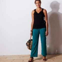 Pantalon large maille stretch - menthe