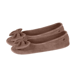 Ballerines velours taupe clair uni