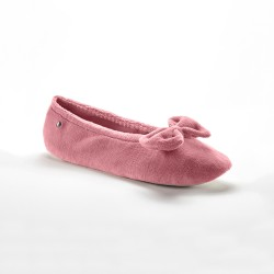 Ballerines en velours bio grand noeud - rose poudré