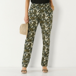 "Pantalon droit fluide imprimé ""jungle"""