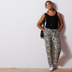 Pantalon noué imprimé tropical