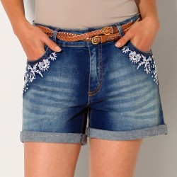Short denim brodé