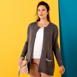 Cardigan bicolore toucher cachemire - anthracite