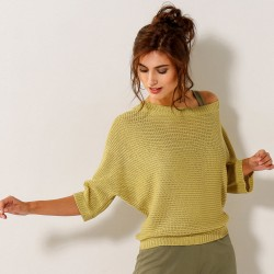 Pull maille fantaisie - manches 3/4 chauve-souris