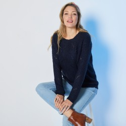 Pull col rond ajouré toucher mohair