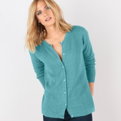 Cardigan boutons perles toucher mohair